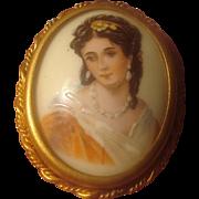 SALE Limoges Porcelain Portrait Pin