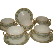 SALE Limoges Porcelain Bouillon Cups , Set of Five