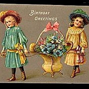 SOLD Gorgeous EAS Germany Girls Carrying Basket Postcard