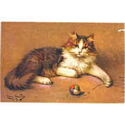 1907 Leon Huber Cat with Toy Postcard