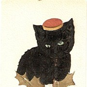 1907 Black Cat in Felt with Hat New Years Postcard