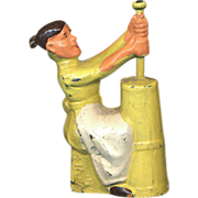 (M161) Manoil Happy Farm Woman Churning