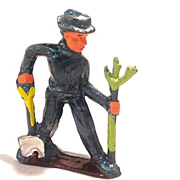 (M165) Manoil Happy Farm Man Planting Tree