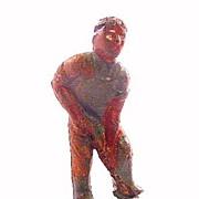 (H8) Rare Grey Iron Colored Man Digging Lead Figure