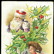 Santa Claus on Telephone with Girl 1910 Postcard