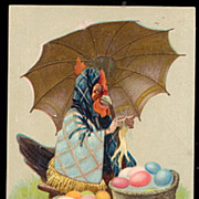 SOLD Easter Greetings with Dressed Rooster 1910 Postcard