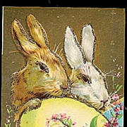 SOLD Gorgeous Greetings at Easter Rabbits Postcard
