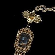 Vintage Goldette with Blue Glass Dangle Necklace