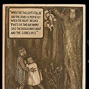 SALE PENDING Owl & Goblins with Children Halloween Postcard