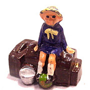 SALE PENDING Johillco Railway Girl on Trunk - 1920s Lead