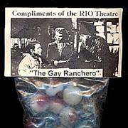 """""""Gay Ranchero"""" RIO Theatre Souvenir Marbles mint in bag"""