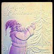 Embossed Santa Claus Profile 1907 Postcard
