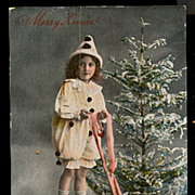 SOLD Girl Holding Reins/Pigs New Years Real Photo Postcard