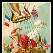 Santa Claus in Hot Air Balloon 1910 Postcard