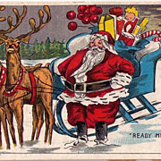 1911 Santa Claus with Toys in Sleigh Postcard