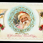 Santa Claus in Holly Window 1913 Postcard
