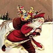 Running Santa Claus with Presents 1909 Postcard