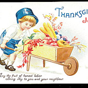 1908 Ellen Clapsaddle Thanksgiving Boy Postcard