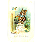 Louis Wain 'Kettle of Fish' Tucks 1906 Cats Postcard