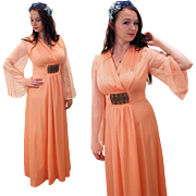 SALE 1970s Peach Chiffon Maxi Dress with Filigree Buckle S/M