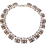 SALE J Flores Taxco Rare 1940s Mexican Sterling Silver Link Necklace