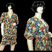 SALE Vintage Albert Nipon Silk Floral Dress Bergdorf Goodman S/M