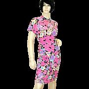 SALE 1980s Bright April Rain Dress Pink Floral Rayon Crepe S