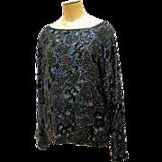 1980s Beaded Top Black Silk Sequins L India Long Sleeves