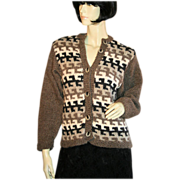 SALE 1970s Aztec Knit Wool Cardigan Geometric Sweater S