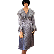 REDUCED Elizabeth Cannon Couture Silver Fluttery Silk Bespoke Dress M