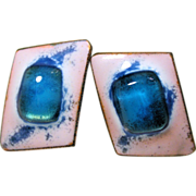 60s Kay Denning Blue White Glass Enamel Copper Earrings