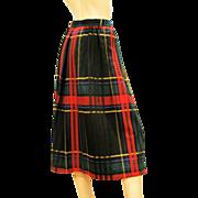 REDUCED Vintage 1980s DVF Diane Von Furstenberg Plaid Skirt S