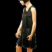 SALE 1920s Black Silk Flapper Dress XS