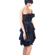 SOLD Vintage Avant Garde Black Strapless Pleated Dress XS