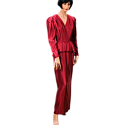 SALE 1970s Wine Satin Peplum Dress Long Evening Gown S/M