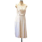 REDUCED 1960s Ivory Rayon Crepe Sequin Cocktail Dress, Daytime Wedding, XS