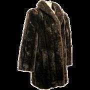 70s Black Plush Faux Fur Coat