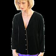 SALE Oscar de la Renta Black Velvet Evening Jacket with Gold Braid