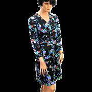 SALE 1970s Emilio Borghese Dark Floral Print Italian Dress S/M
