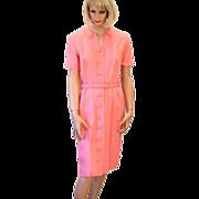 SOLD 60s Pink Peach Irish Linen Tailored Day Dress M