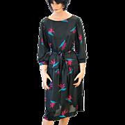 1970s Black Tropical Flower Print Dress by Blair L XL
