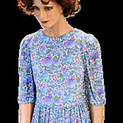 SALE 80s Belle France Jane Schaffhausen Blue Purple Floral Dress S/M