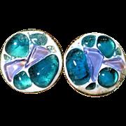 REDUCED K Denning Round Earrings Blue Lavender Glass Enamel Over Copper