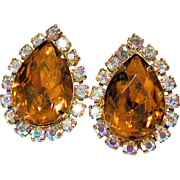 Huge Vintage Topaz Rhinestone Teardrop Clip Earrings