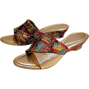 SOLD 1960s Metallic Gold Brocade Mules, size 9
