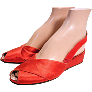 1930s Red Silk Bonwit Teller Low Heel Wedges size 7