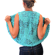 SALE 1970s Donald Brooks for Neiman Marcus Turquoise Nugget Beaded Vest