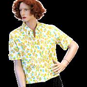 SALE 1960s NOS Yellow Floral Cotton Blend Blouse M