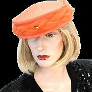 1960s Orange Pillbox Hat