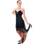 1980s Lillie Rubin Black Chiffon Cocktail Dress
